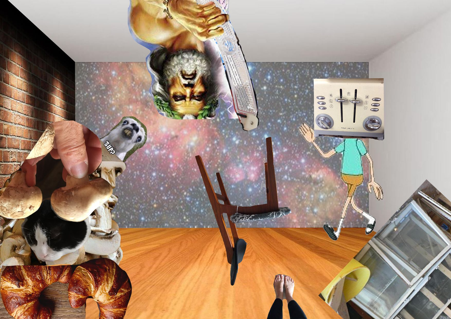 Collage showing a chair, some croissants, a cat, some mushrooms, some windows, Zeus, the drawing of a boy with a toaster instead of his head